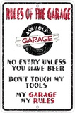 Rules Of The Garage Plechová cedule