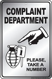 Complaint Department Tin Sign