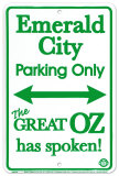 Emerald City Parking Only Placa de lata