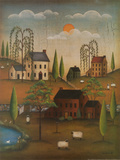Village with Sheep Prints by Kim Lewis