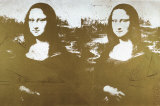 Two Golden Mona Lisas Print by Andy Warhol