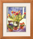 Tulips And Primulas Prints by Richard Akerman