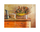 Flowers on Gramma's Sideboard III Print by M. De Flaviis
