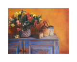 Flowers on Gramma's Sideboard I Poster by M. De Flaviis