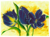 Three Blue Tulips Prints by  Cruz
