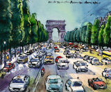 Arc de Triomphe and Avenue des Champs Elysees Prints by Michael Leu