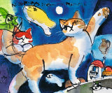 Nice Kitty's Dream with Moonfish Print by Michael Leu