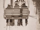 Skiers Riding Chair Lift Photographic Print by Jack Hollingsworth