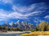 Cirrus Clouds over Teton Range and Snake River Photographie