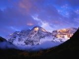 Sunrise on Snow-Covered Mountains Photographic Print