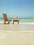 Pair of Wooden Lounge Chairs on Beach Photographic Print by Jack Hollingsworth