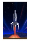Rocket Ship Lifting Off Giclee Print by Clark Dunbar