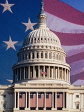 Flag Behind U.S. Capitol Photographic Print by Joseph Sohm