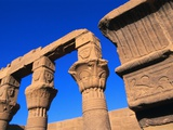 Philae Temple Column Reliefs Photographic Print by Ron Watts