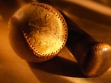 Old Baseball and Baseball Bat Photographic Print by Danilo Calilung