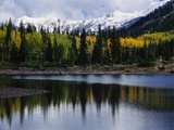 Autumn Trees on Mountain Lake Photographic Print