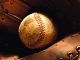 Old Baseball in Glove Photographic Print by Danilo Calilung
