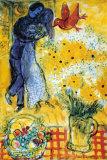 De geliefden Poster van Marc Chagall