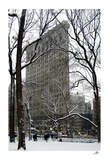 Flatiron Building in Snow Print by Igor Maloratsky