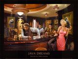 Java Dreams: Presley, Monroe, Bogart und Dean beim Billard Kunstdruck von Chris Consani