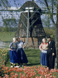 People Wearing Dutch Costumes Stand Near Windmill and Tulips Photographic Print by Andrew Brown