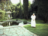 Pope John Paul Ii Walks Alone in the Quiet at Castel Gandolfo Photographic Print by James L. Stanfield