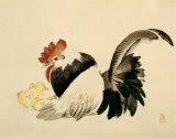 Rooster, Hen and Chicks, c.1880 Prints by Shibata Zeshin