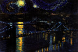 Starry Night over the Brooklyn Bridge Posters by Nathan Mellot