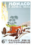 6th Grand Prix Automobile, Monaco, 1934 Plakaty autor Geo Ham