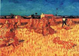 Harvest in Provence of Wheat Field with Sheaves, c.1888 Posters by Vincent van Gogh
