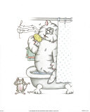 Bathroom Cats VII Print by A. Langston