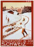 Sports d'hiver en Suisse - Affiche de la SBB Posters par P. Colombi