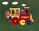 Bears on Train II Prints by Shelly Rasche