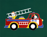 Dogs on Firetruck II Posters by Shelly Rasche