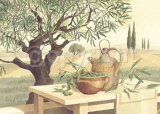 Still Life with Olives and Olive Oil Print by Franz Heigl