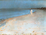 Summer Evening at the South Beach, Skagen, c.1893 Print by Peder Severin Kr&#246;yer