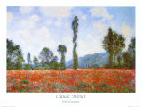 Vallmofält Posters av Claude Monet