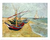 サント・マリ・ド・ラ・メールの浜辺の漁船 1888年 高品質プリント : フィンセント・ファン・ゴッホ