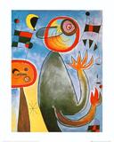 Echelles en Roue de Feu Traversant Poster di Joan Miró
