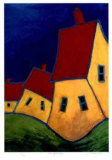 Three Yellow Houses Collectable Print by Carol Ann Shelton