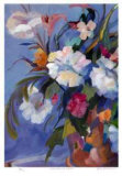 White Flowers in a Red Pot Collectable Print by Zora Buchanan