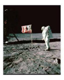 Moon and U.S. Flag Giclee Print
