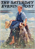 Boy and Dog in Nature Posters by Eugene Iverd