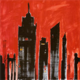 Red Cityscape Poster by Paul Brent