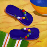 Purple Flip Flops Print by Paul Brent