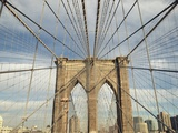 Low angle view of suspension cables on Brooklyn Bridge, New York City, New York, USA Photographic Print