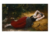 A Young Peasant Girl Sleeping Giclee Print by Leon Jean Bazile Perrault