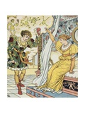 Frog Prince Book Illustration with Princess and Frog Prince Giclee Print by Walter Crane