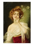 Postcard of Woman Blowing Bubbles by B. Zickendraht Giclee Print
