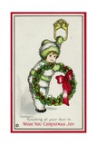 Knocking at Your Door to Wish You Christmas Joy Postcard Giclee Print by Pauli Ebner